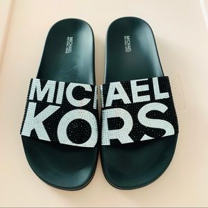 NEW Michael Kors Gilmore Slides with Rhinestones